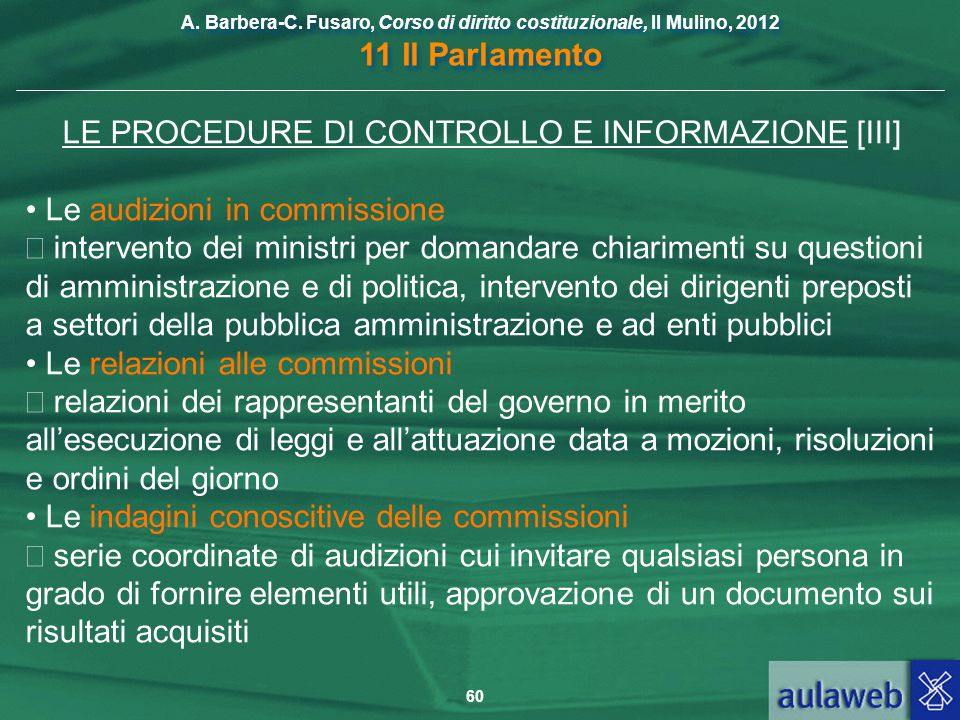 LE PROCEDURE DI CONTROLLO E INFORMAZIONE [III]